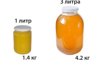 Сколько же меда в 1 и 3 литровой банке в килограммах